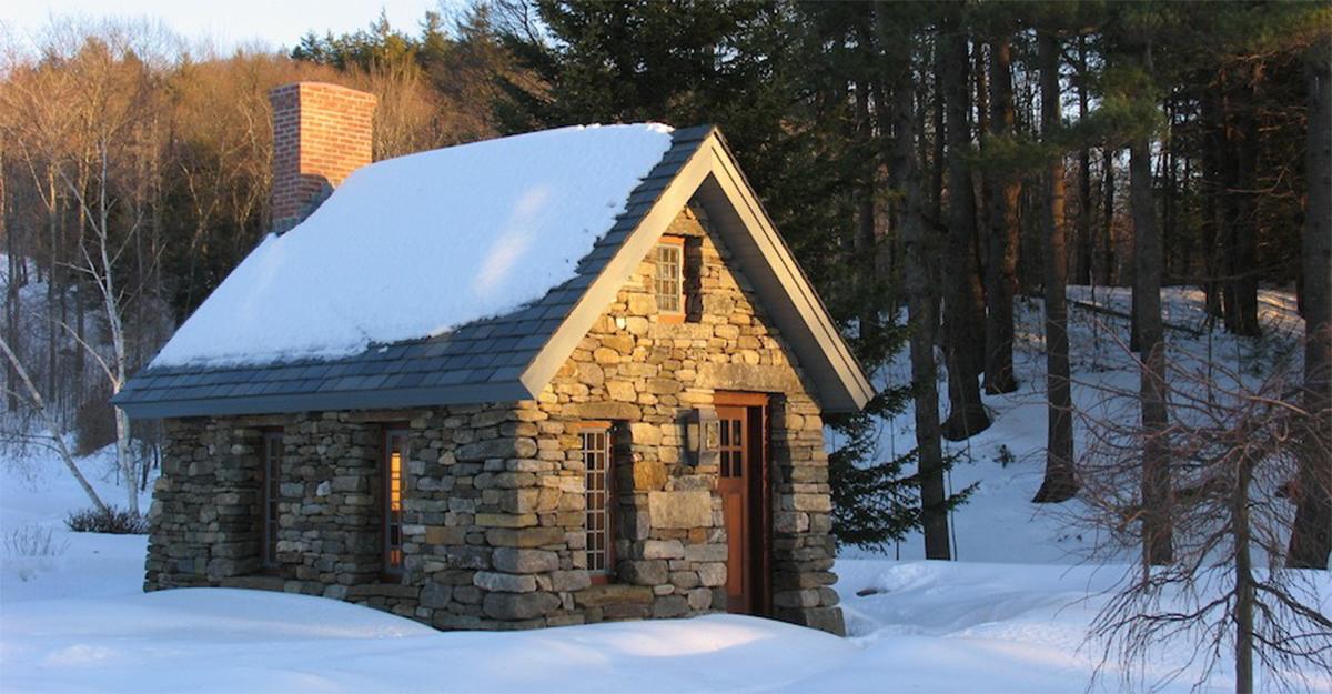 The stone Thoreau cabin replica