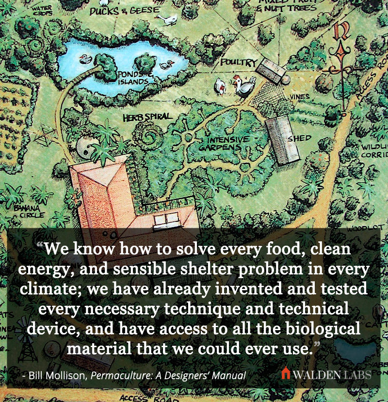 We know how to solve every food, clean energy, and sensible shelter problem in every climate; we have already invented and tested every necessary technique and technical device, and have access to all the biological material that we could ever use.