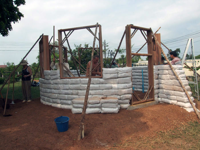 Earthbag walls