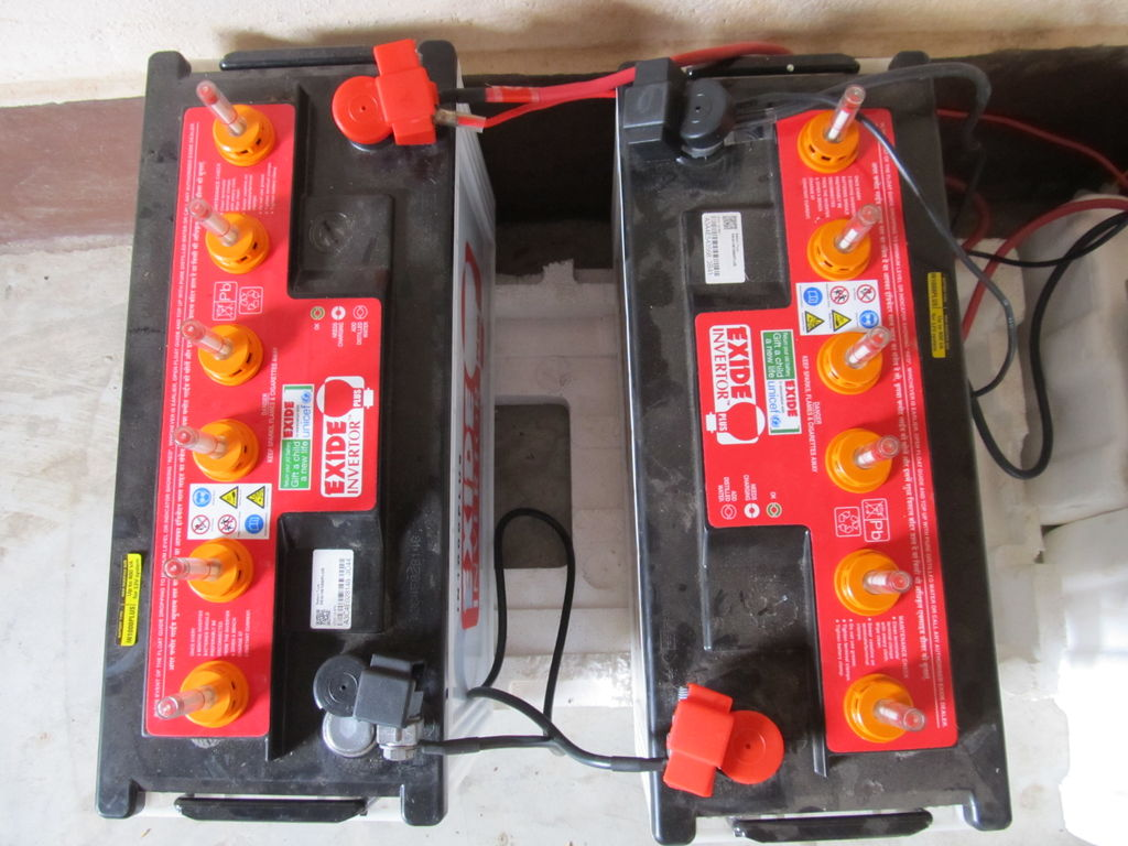 Top view of the batteries