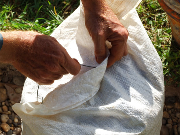 Filling the Earthbags