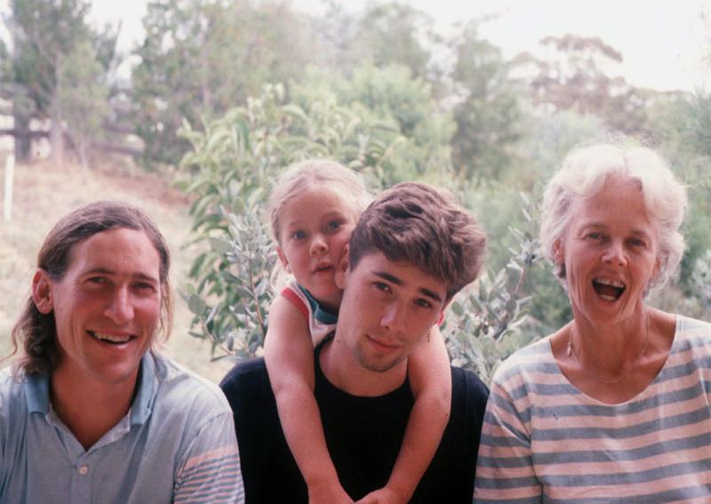 Family photo 1991; David, Kimon (19), Oliver (5) and Su.