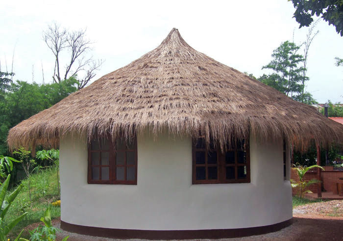 Exterior view of earthbag roundhouse