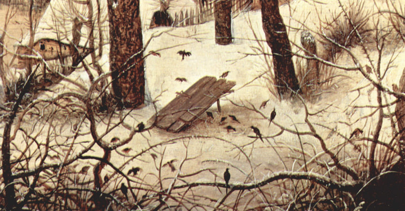 "Painting of a lethal ""deadfall"" bird trap by Pieter Bruegel the Elder in 1565"